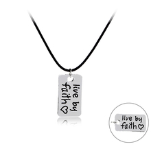 "Inspirational Jewelry Necklace""Live by Faith "" Not By Fear Stamp Pendant Necklace Choker Inspired Faith Necklace For Women Men"