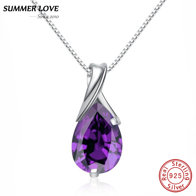 Purple Crystal Amethyst Pendant Necklace With Chain Real 925 Sterling Silver Fine jewelry For Women Jewellery 2017 Dropshipping