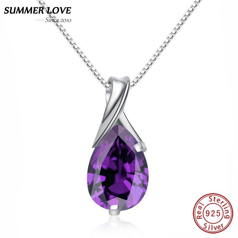 Purple Crystal Amethyst Pendant Necklace ar ķēdes Real 925 sudraba Fine rotaslietas Sieviešu rotaslietas 2017 Dropshipping