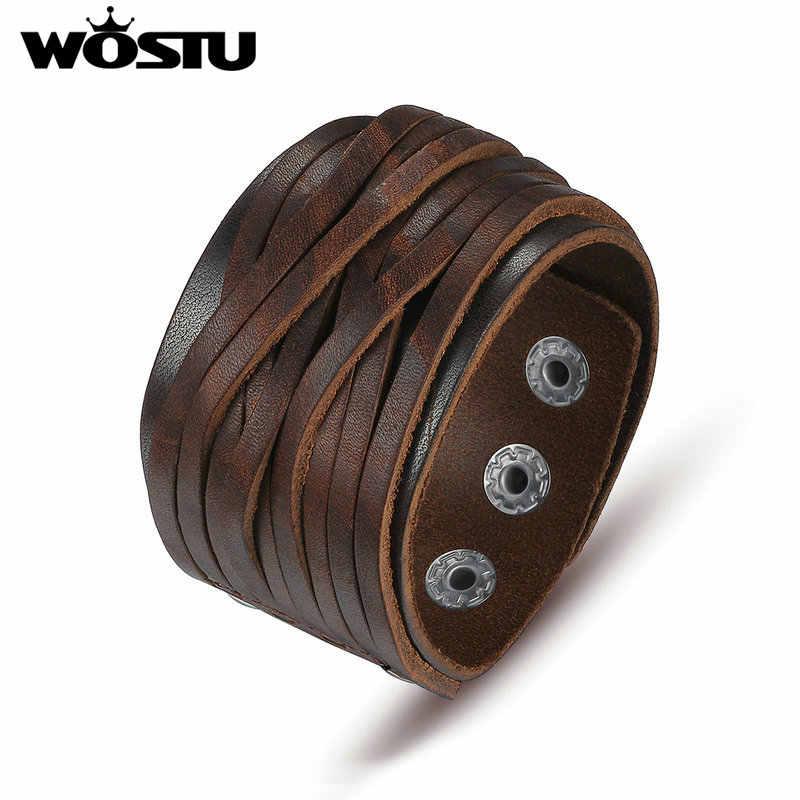 WOSTU gorąca sprzedaż prawdziwej skóry Wrap Vintage brązowy bransoletka i bransoletki dla kobiet mężczyzn luksusowe wysokiej jakości biżuteria Unisex XCJ0337