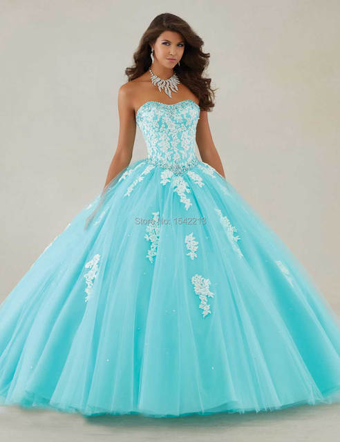 f0cf8f9e480 Boutique Chic Lace Appliqued Light Blue Champagne Ball Gown Quinceanera  Dresses Girls Vestidos 15 Masquerade Gowns