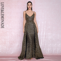 LOVE&LEMONADE Sexy V Neck Plaid Sequin Material Two Pieces Bodycon Party Maxi Dress LM80196 1