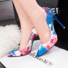 Pointed shallow mouth OL gas women's shoes Floral set foot c