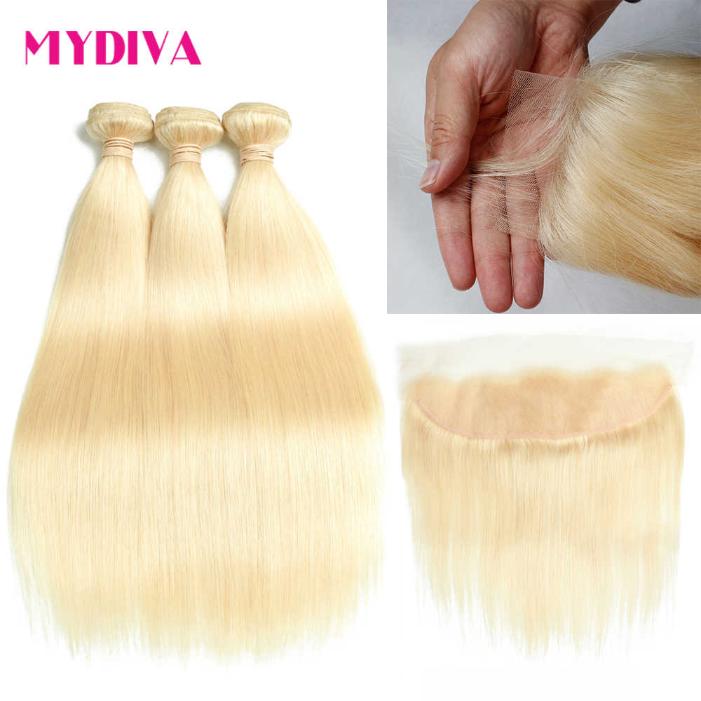 613 Bundles With Frontal Brazilian Straight Hair Bundles With Lace Frontal 613 Blonde Human Hair Bundles With Closure Remy Hair