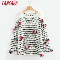 Tangada Women Knitted Stripe Sweater Batwing Sleeve Fur Ball Fashion Winter Pullover Female Casual Brand Thick Knit Tops 3N15