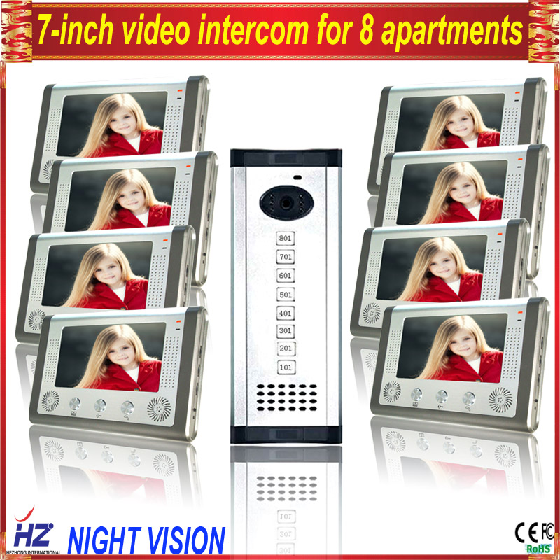 Saful 7TFT-LCD free disturb wired audio video door intercom system for 8 apartments with night vision monitor doorbell 7 inch video doorbell tft lcd hd screen wired video doorphone for villa one monitor with one metal outdoor unit night vision