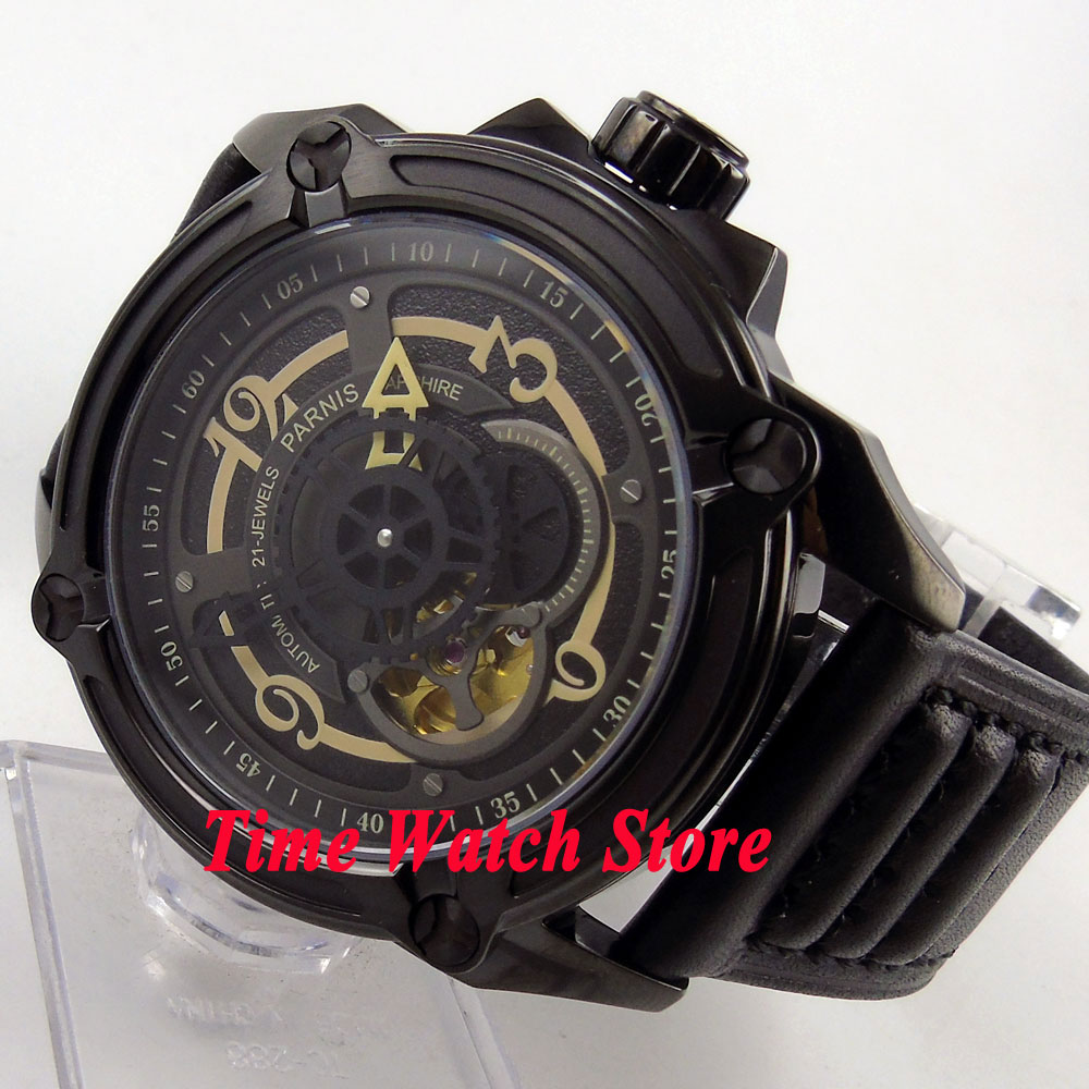 Parnis 44mm black dial gold number sapphire glass PVD case 5ATM Golden MIYOTA Automatic Mens watch 670Parnis 44mm black dial gold number sapphire glass PVD case 5ATM Golden MIYOTA Automatic Mens watch 670