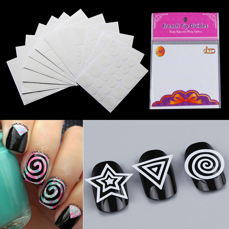 Geometry Stripe French Nail Vinyls Circle Stars Heart 12 Sheets Nail Stickers Manicure Nails Art Stencil Tip Guide Decoration 15 bag french manicure smile tip guides pedicure diy nail art stickers brand women makeup tools for nail art