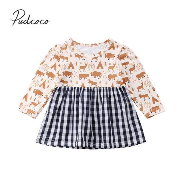 6e95a5e30 2018 Brand New Toddler Infant 1-3Y Holiday Dress Baby Girls Long Sleeve  Animal Plaid