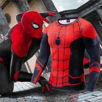 3D Anime Impression Avengers Fin de Partie Quantique Domaine tenue de combat costume cosplay t-shirt moulant Hommes Chemises Gymnases Fitness T-shirts hauts