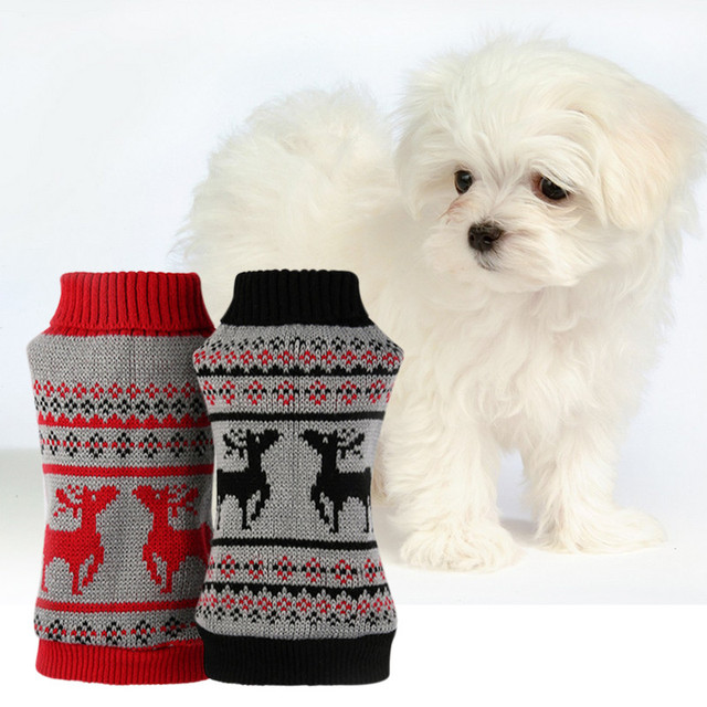 pet dog christmas sweater deer print warm winter clothes for small dogs 2016 wool knitted chihuahua