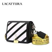 LACATTURA 2018 New Women Messenger Bags Stripes Pattern High Quality Leather Handbag Lady Small Shoulder Bag Womens Crossbody