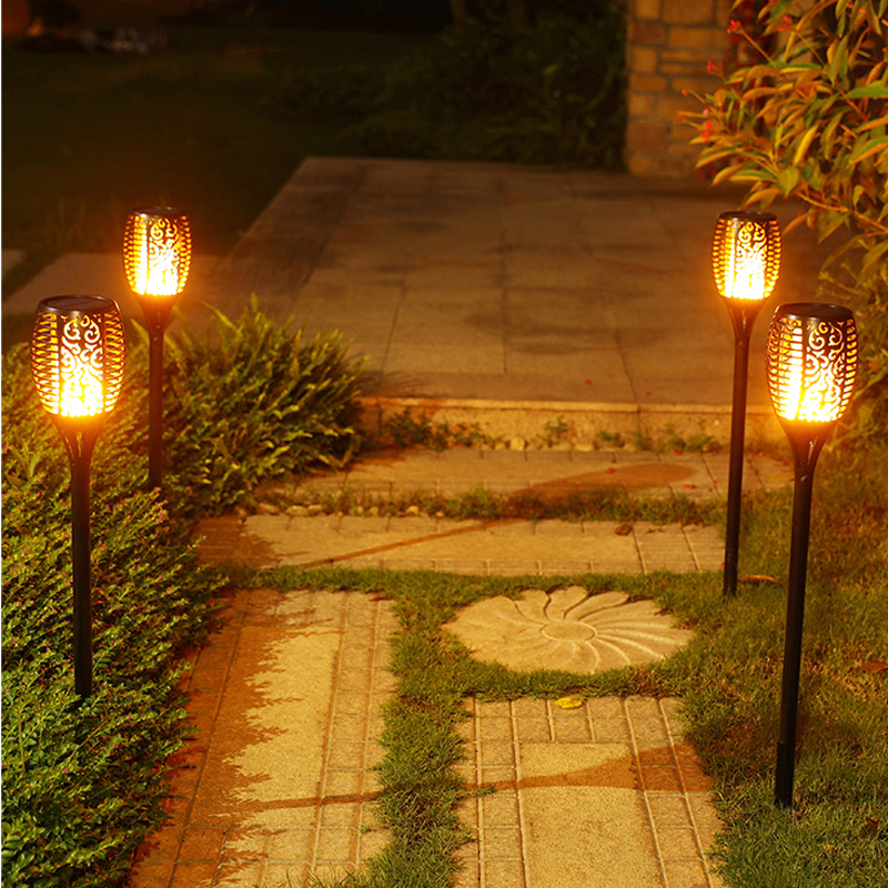 Solar Flame Flickering Outdoor Lawn garden Solar light Smart Tiki Torch Light Solar Torches Dancing Flames Landscape Light