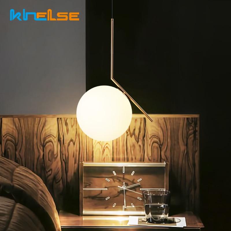 Modern Nordic Minimalist Loft Living Room Pendant lights Restaurant Bedroom Beside Decor AC 90-260V E27 Glass Ball Pendant Lamp