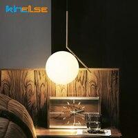 Modern Nordic Minimalist Loft Living Room Pendant lights Restaurant Bedroom Beside Decor AC 90 260V E27 Glass Ball Pendant Lamp