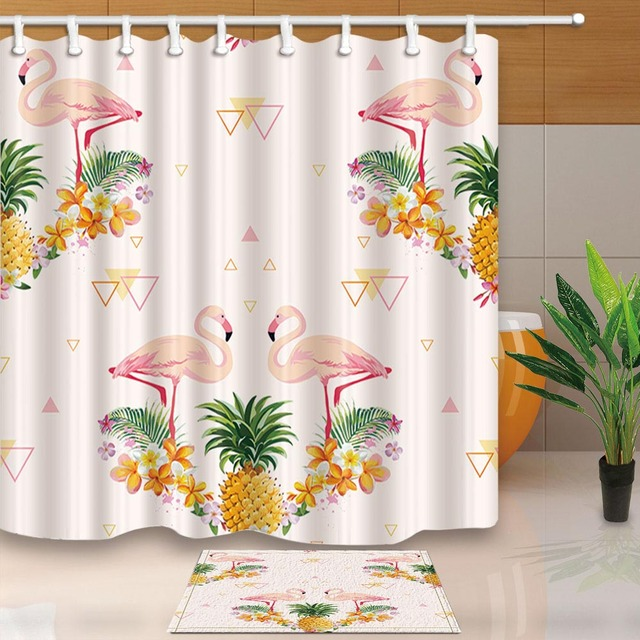 Creative Bath Shower Curtain flamingo pineapple waterproof shower curtain fabric polyester