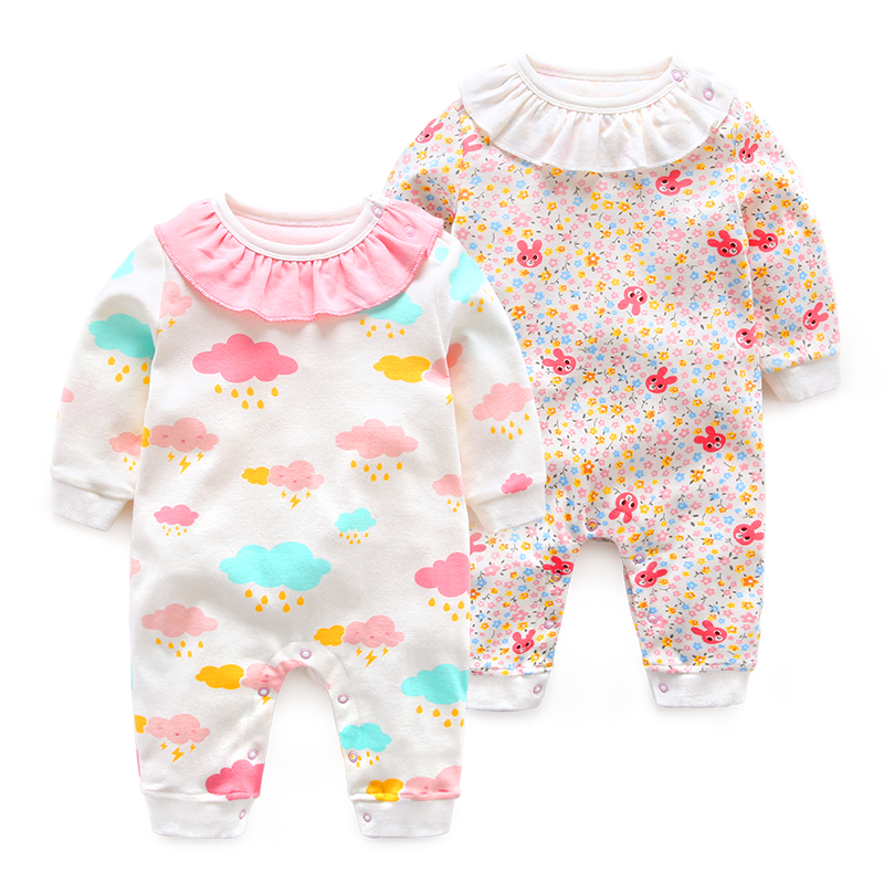 New Newborn Rabbit Baby Girl Rompers Cotton Clothes Long Sleeve Jumpsuit Infant Girls Body Pajamas Cloud Pattern Overalls Cloth newborn baby rompers baby clothing 100% cotton infant jumpsuit ropa bebe long sleeve girl boys rompers costumes baby romper