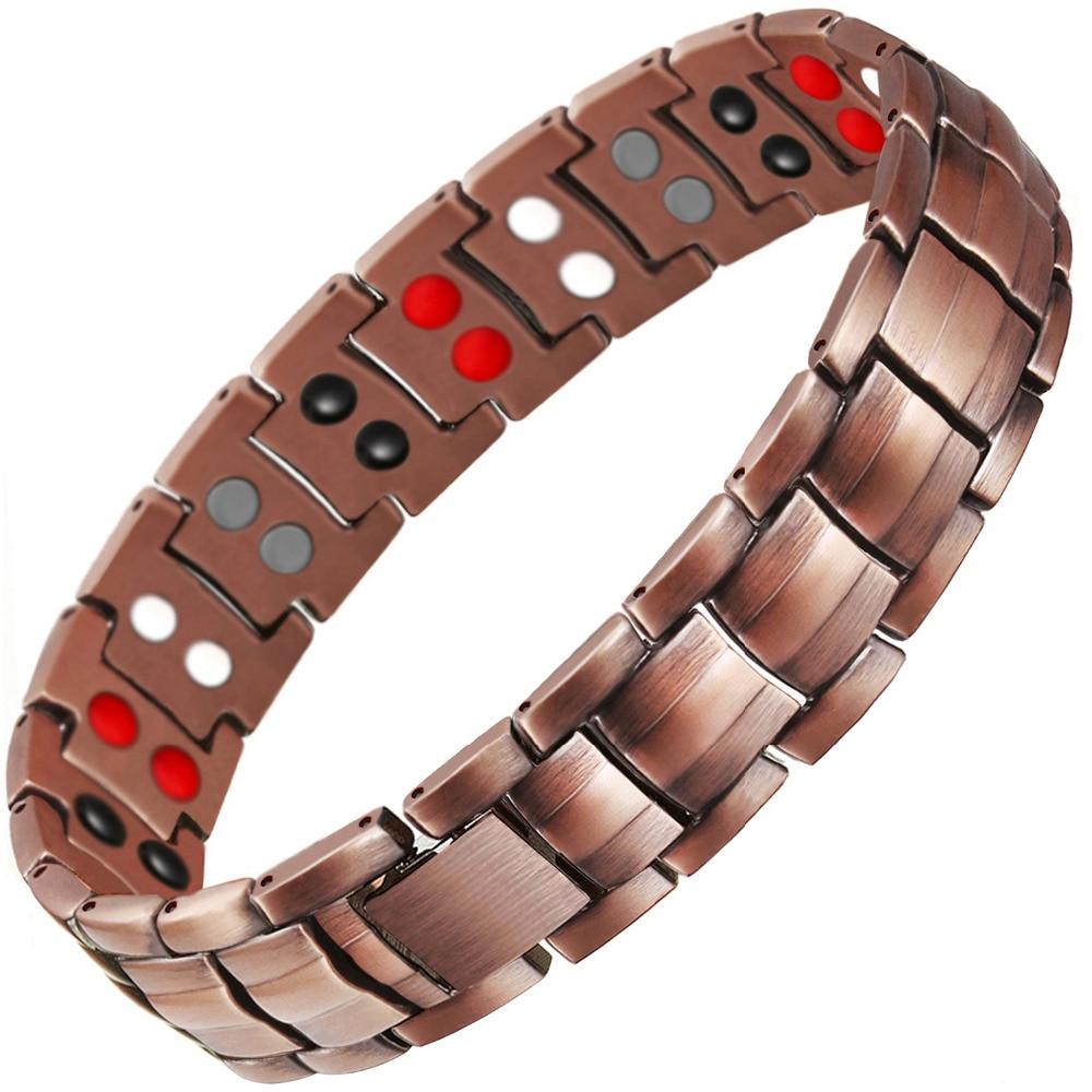 Tropfen-verschiffen Zweireihig 4 IN 1 Bio-elemente Energie Magnetische Armband Herrenmode Healing 99.95% Reinem Kupfer armbänder Armreifen