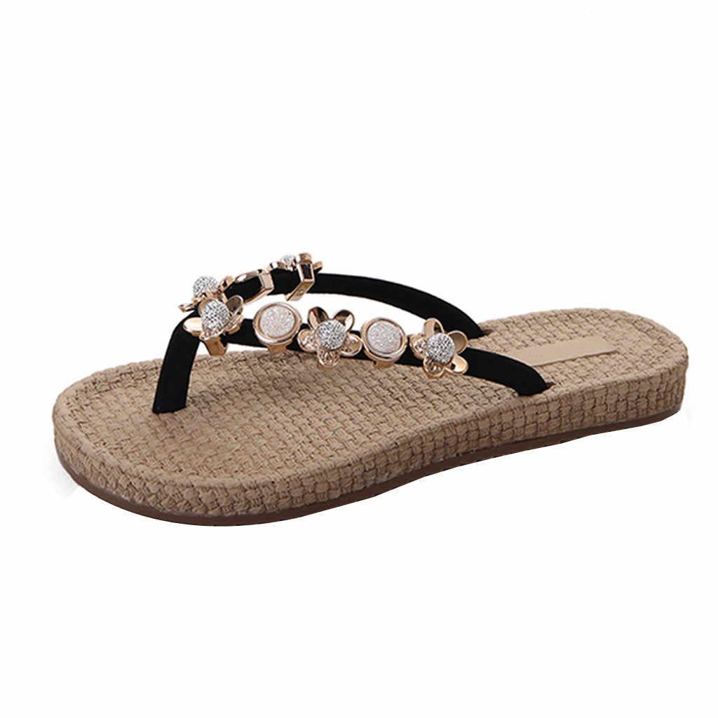 SAGACE moda bayanlar terlik düz ayakkabı yaz kadın plaj ayakkabısı Rhinestone Metal moda düz taban plaj terlikleri