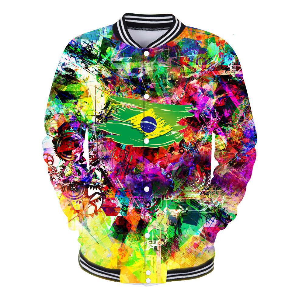 National Flag Style Baseball Jacket 3D Neutral Baseball Jacket 2018 Fashion Coats National Flag Print Casual Plus Size Clother