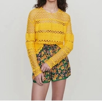 2019 autumn new fashion long sleeve hollow out crocheted lady sweater