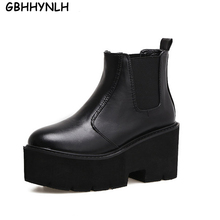 GBHHYNLH Fashion Black Ankle Boots For Women Thick Heels 2019 New Autumn winter Platform Shoes High Ladies LJA404