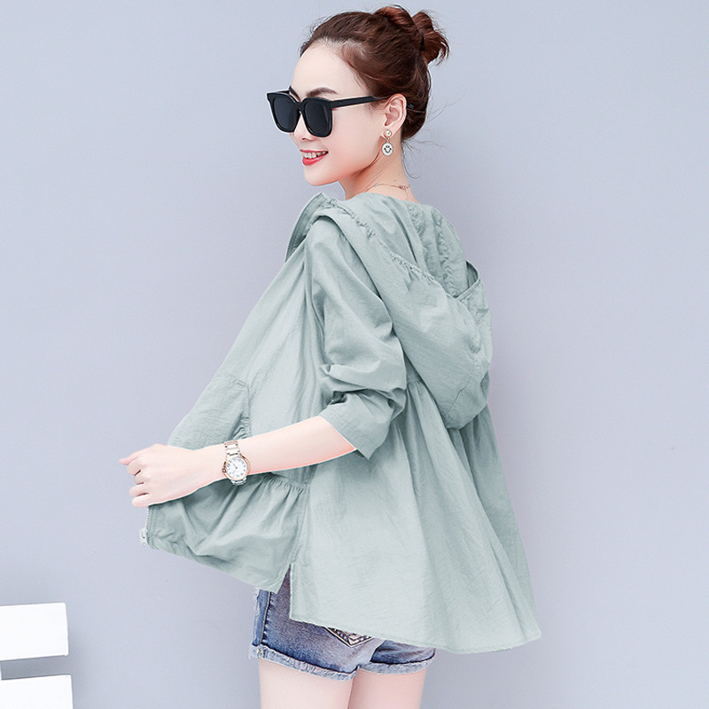 Plus Size 3XL Short Hoodies Coat Women Summer Beach Jacket Women Chaqueta Mujer Long Sleeve Sun Protection Clothes Outwear C4621