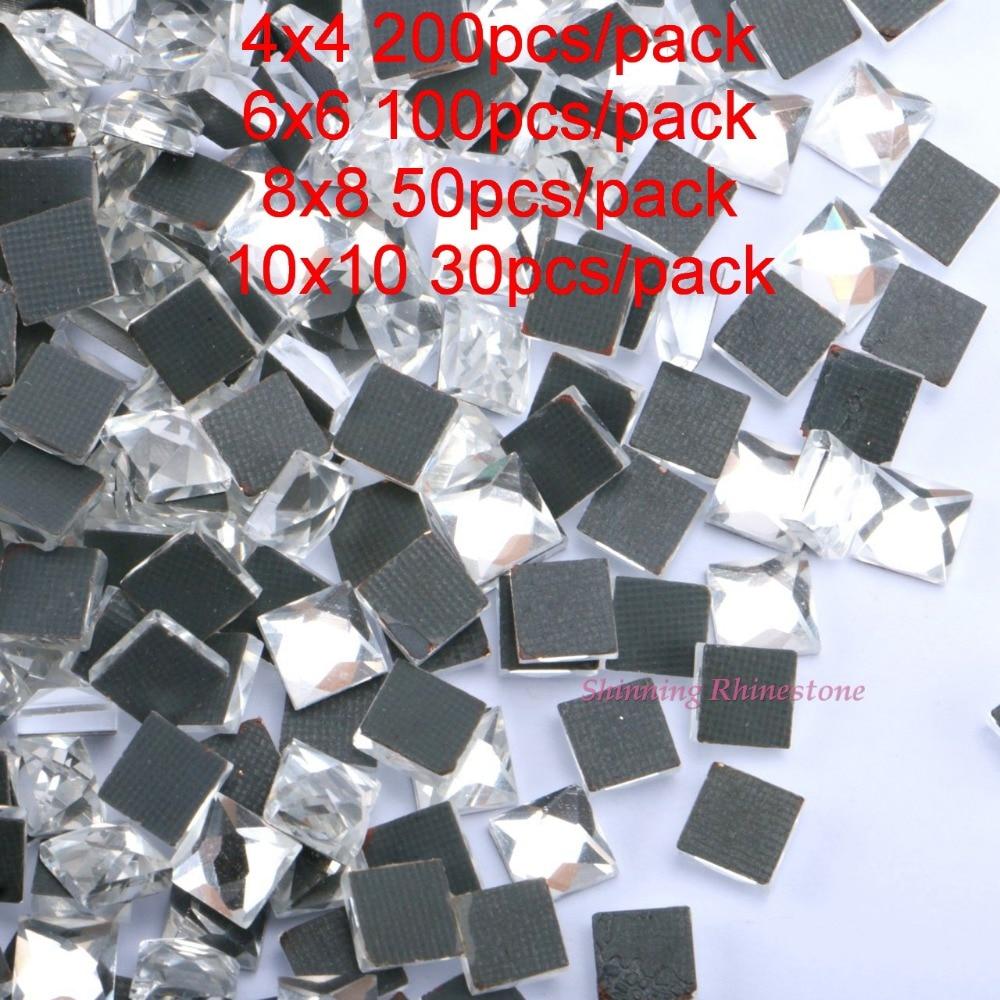 Glass HotFix Rhinestones Square 4x4   6x6   8x8   10x10 DMC Crystals Iron  On Hot Fix Flatback Crystal Stone For DIY Garment-in Rhinestones from Home  ... 96714e29c49d