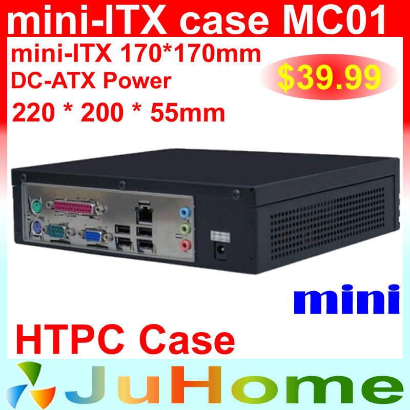 Estuche HTPC Mini-ITX, 220 * 220 * 55 mm, ultrafino, mini estuche para computadora de cine en casa, en estuche para PC de automóvil, mini estuche IT0 MC01