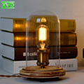 Modern Clear Glass Wooden Table Lamp E27 Lamp Holder 110-240V Parlor Indoor Study Desktop Lighting Free Shipping