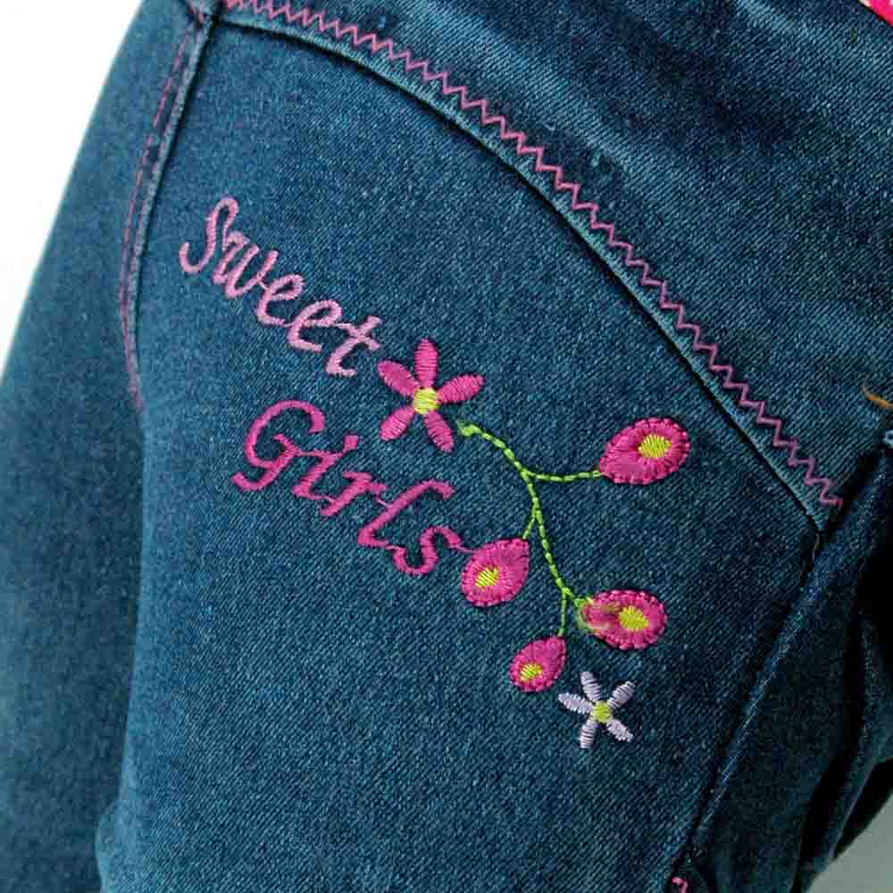 Kids Slim rhinestones Blue Jeans Girls Teen Child embroider Denim Pencil Skinny Trousers MH2548 in Jeans from Mother Kids