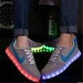 Светодиодные светящиеся обувь Led обувь для взрослых Мужчин обувь 2016 модный бренд Холст обувь мужчин случайные плюс размер 35-44