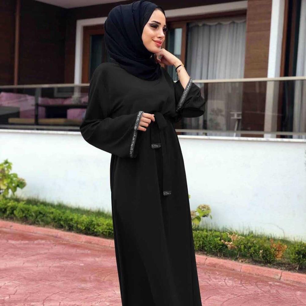 2019 Women Muslim Abaya Dress O Neck Long Sleeve Patchwork Red Black Kaftan Dubai Islamic Cothing