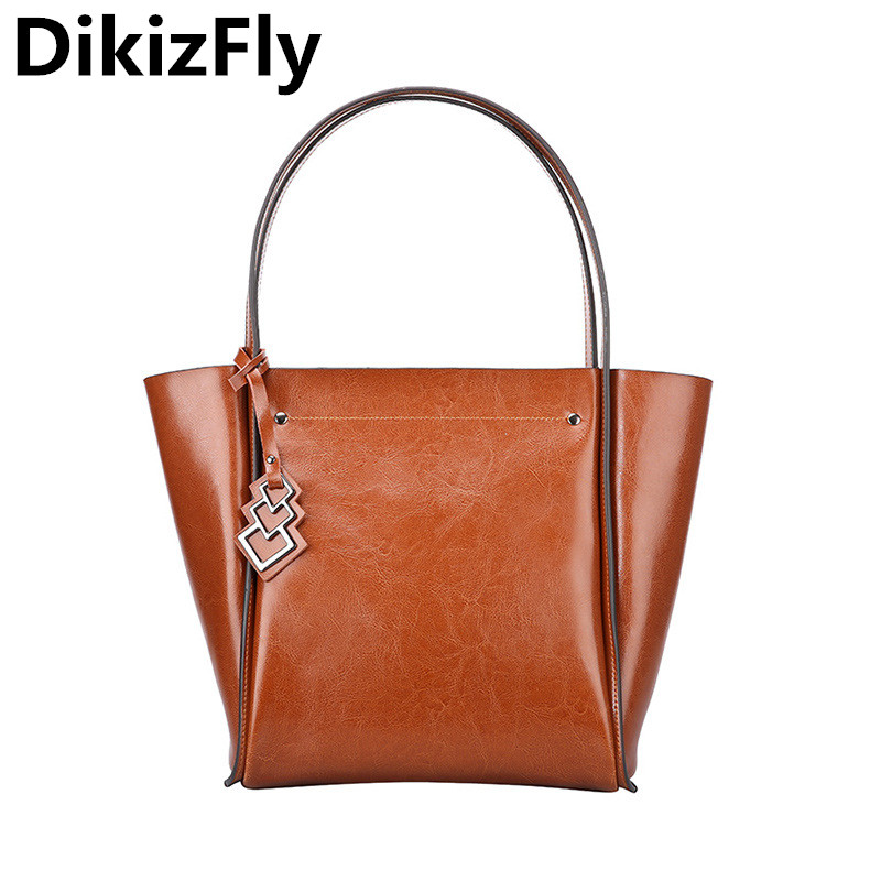 DikizFly Women's Casual Handbags Genuine Leather Shoulder Bag Vintage Totes bags High Quality Fashion Women Bag Bolsa Feminina dikizfly soft genuine leather women handbags casual totes bag real leather brand work handbag purse elegant messenger bags bolsa