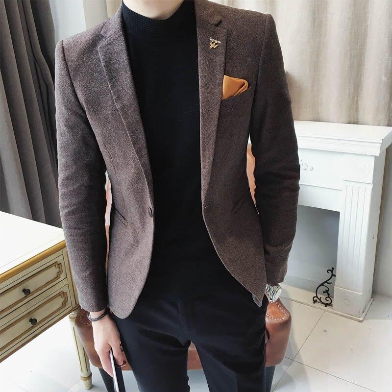 Envmenst nouveauté automne décontracté angleterre Style Slim Fit costume pièces de mode Design Blazer hommes Blazer veste