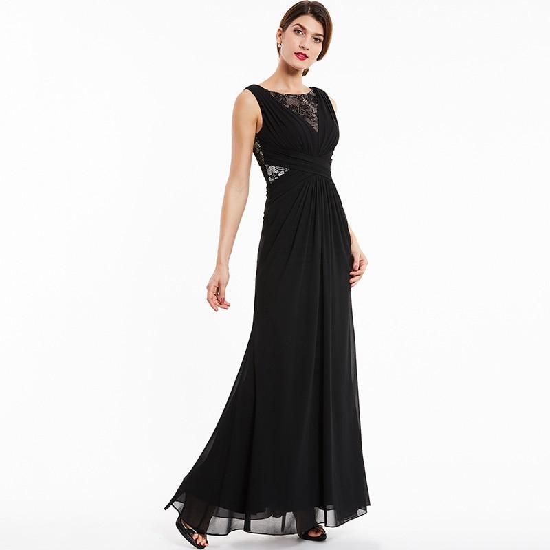 Tanpell bateau kveldskjole svart blonder sleeveless gulvlengde en - Spesielle anledninger kjoler - Bilde 2