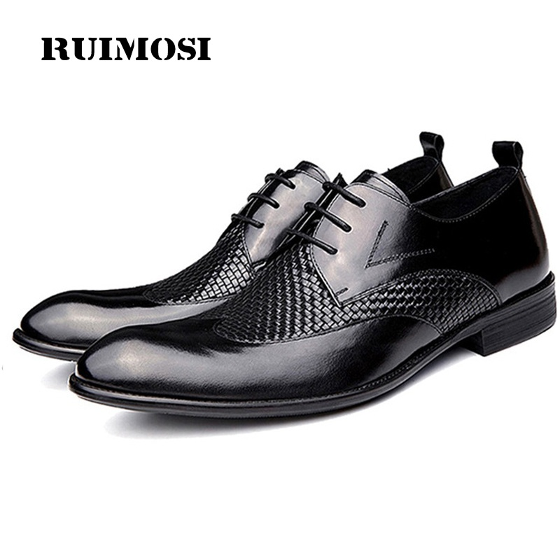 RUIMOSI High Quality Wing Tip Man Brogue Shoes Genuine Leather Formal Dress Oxfords Handmade Wedding Bridal Men's Flats GD70