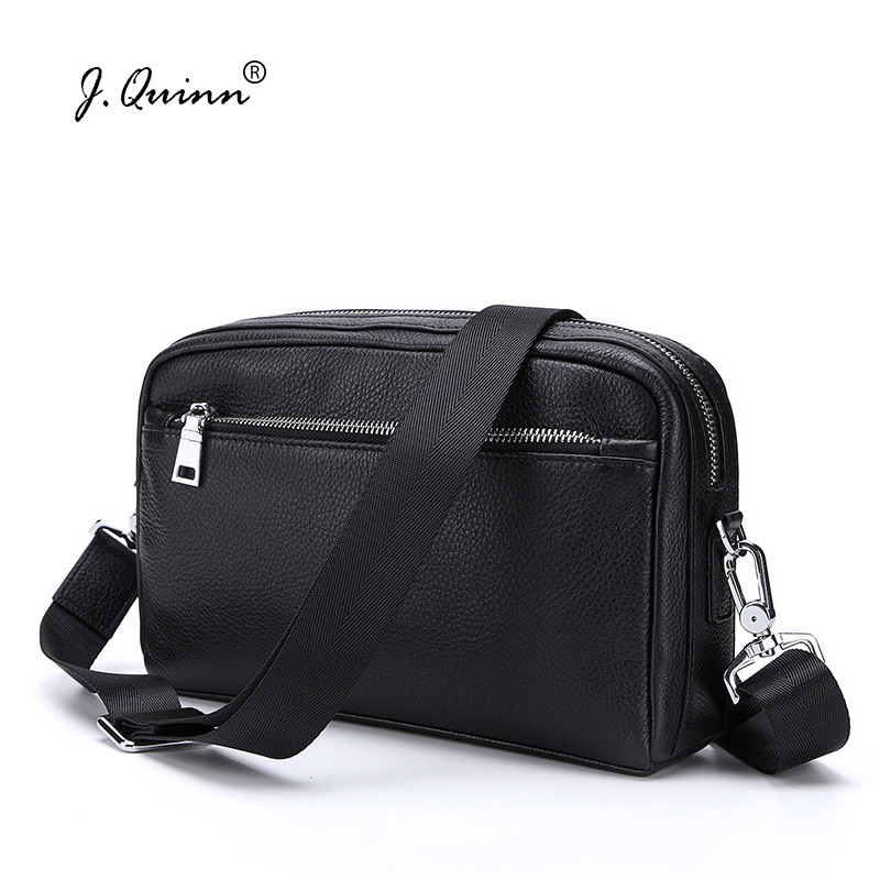 J.Quinn Genuine Leather Men Small Shoulder Bag Clutch Bags Real Cowhide Purse Handbag Mens Messenger Business Crossbody Male Bag women genuine leather shoulder bag tassel messenger bags real leather cowhide spring summer shoulder bags small crossbody bags