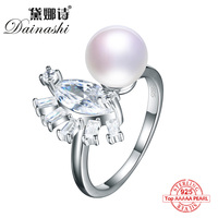 Dainashi Solid 925 Sterling Silver Engagement Ring Pearl Jewelry Cubic Zirconia Ring Women Classics Ring For Girl Friend Gift
