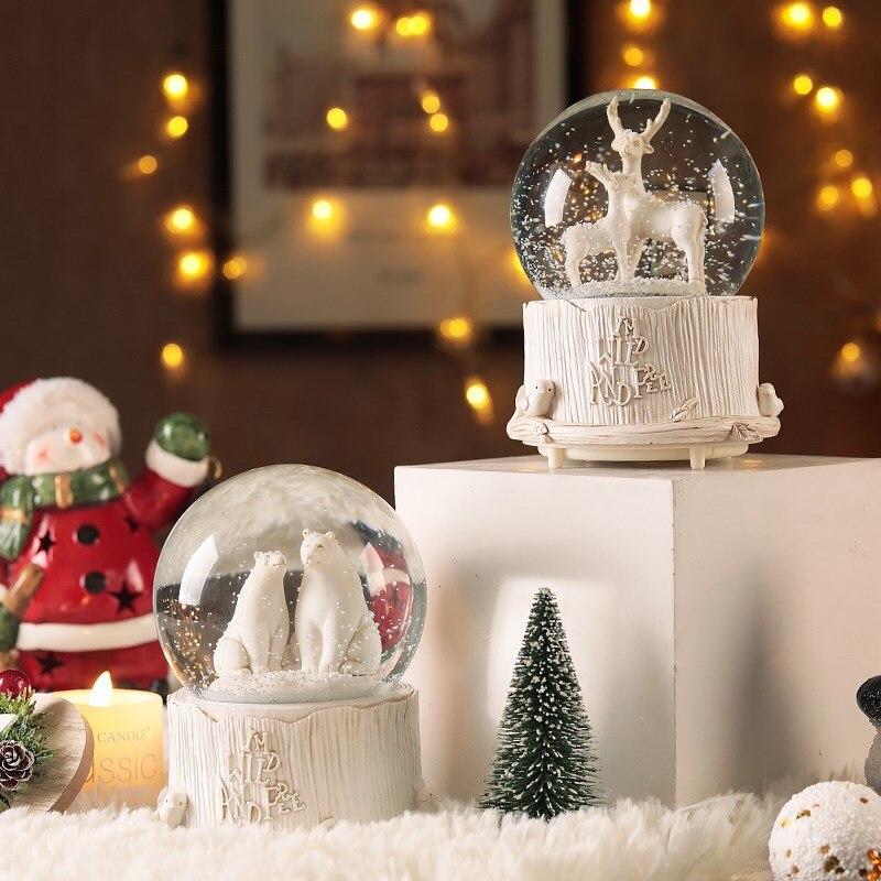 Conte de fées ours polaire Elk boule de cristal boîte à musique musique lumineuse automatique neige dérive boîte à musique noël nouvel an cadeau mx12101546