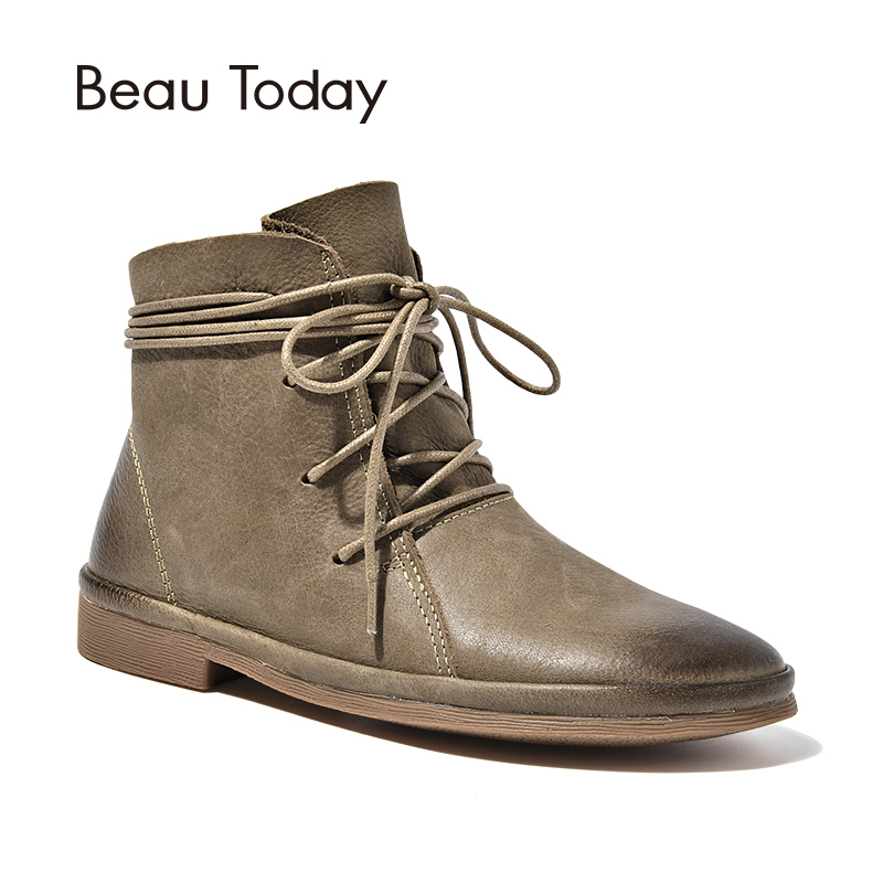 BeauToday Ankle Boots Women Top Brand Genuine Leather Quality Boot Lace Up Shoes Handmade Craft 03072 стоимость