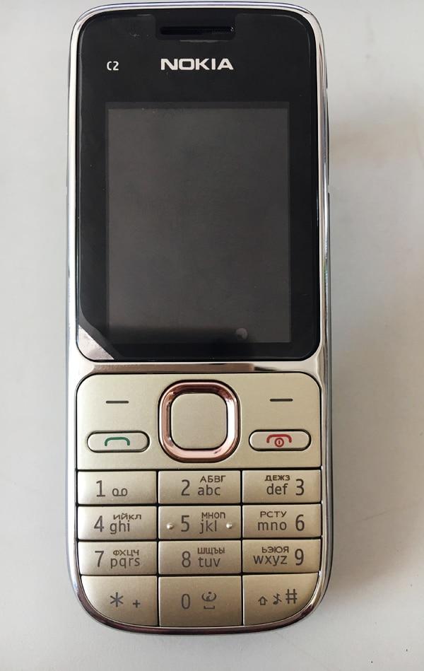 Nokia C2 C2-01 разблокированный GSM мобильный телефон восстановленные сотовые телефоны - Цвет: Gold Russian Keybad