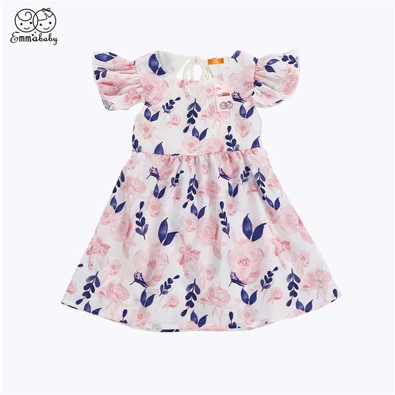 Newborn Baby Girls Dresses Cute kids Short Sleeve Floral Dress For Girls 2018 Newest Backless Summer Dresses For Girls Vestidos