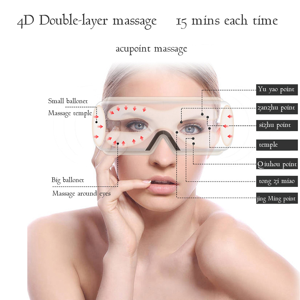 Купить с кэшбэком Electric Eyes Massager Vibration Heating Therapy Anti Fatigue Air Pressure Music Eye Glasses Head Stress Relief Eyes Care Device