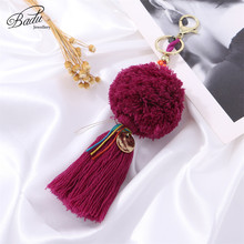 Badu Pompom Key Chain Purple Cotton Tassel Pompom Vintage Statement jewelry Shell Fringe Autumn Winter Key Chain Wholesale pompom