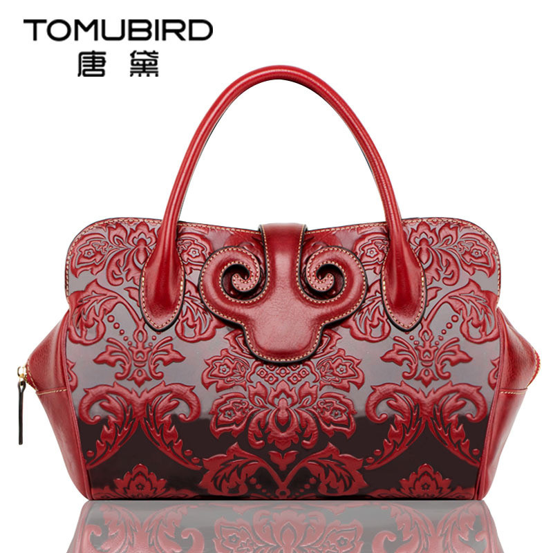 Vintage embossing Pattern Women Bag High quality top-handle bags Female Genuine leather totes bag luxury women leather handbags art hand printed bags for women 2018 100% genuine leather top handle bags high capacity vintage casual totes togo leather bag y