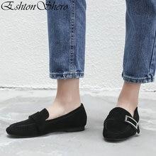 EshtonShero Concise Womens Flats Shoes Woman Cow Suede+PU Flat Heels Round Toe Slip On Khaki Ladies Wedding Size 3-11