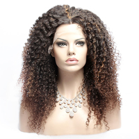COLODO 2 33 Ombre Brown 20inch Natural Hairline Middle Part 180 Density Women Kinky Curly Synthetic