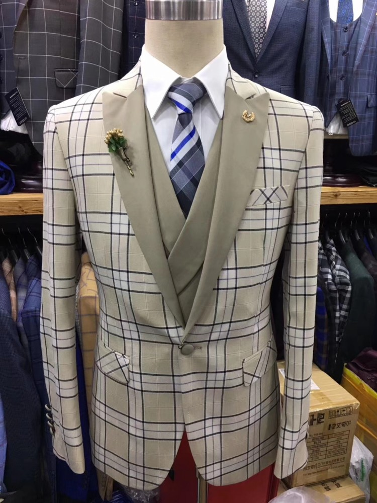 Newest Coat Pant Designs Traditional Beige Plaid Swimsuit Males Slim Match Wedding ceremony Fits For Males Tuxedo Formal Swimsuit Costume Homme Mariage