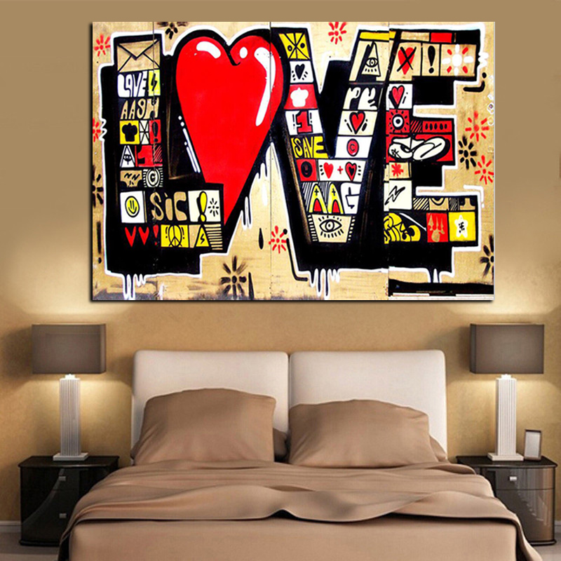 Plakat HD-utskrift Street Art Graffiti 3D Red LOVE MODERN Abstrakt Lerret Maleri Kunst Wall Pictures For Living Room Cuadros Decor